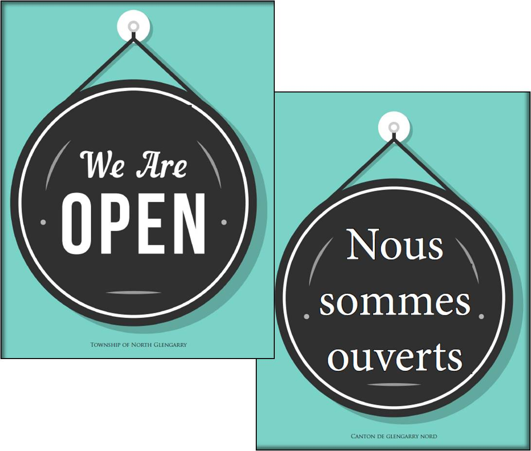 We are open Posters in French and English
