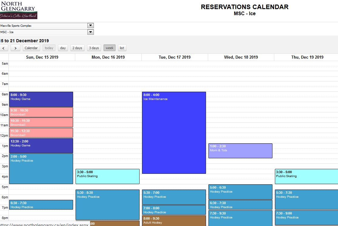 Click to open the Township's Reservations Calendar