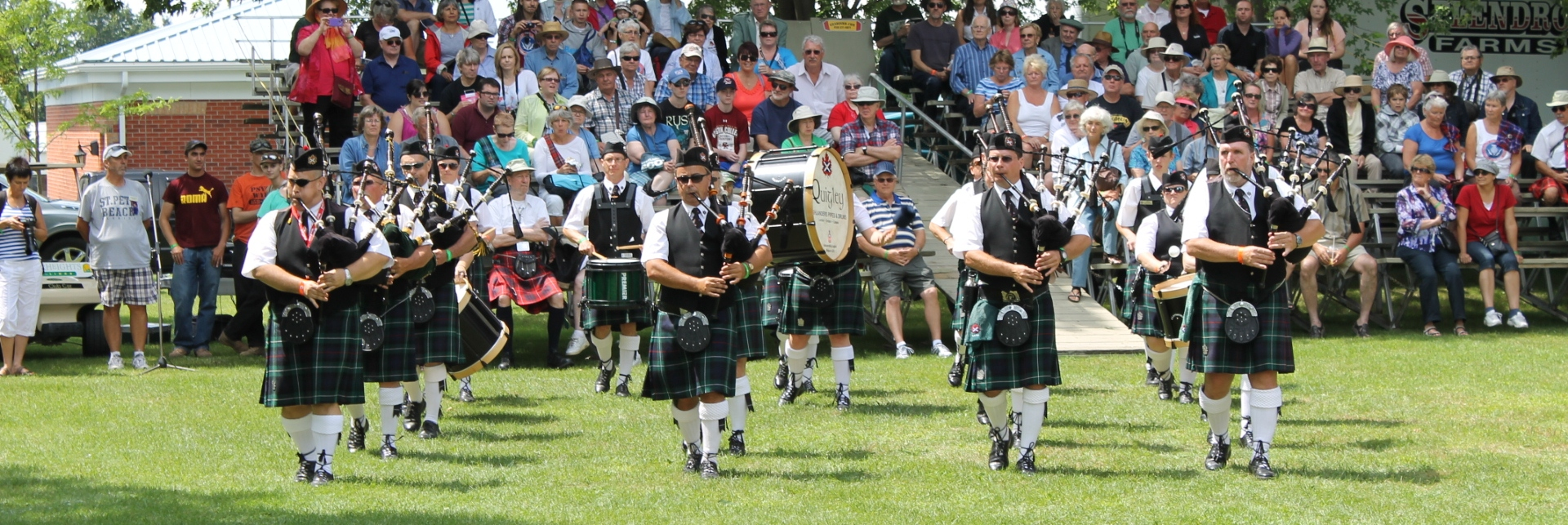 Picture of Pipe Band playing during the Glengarry Highland Games